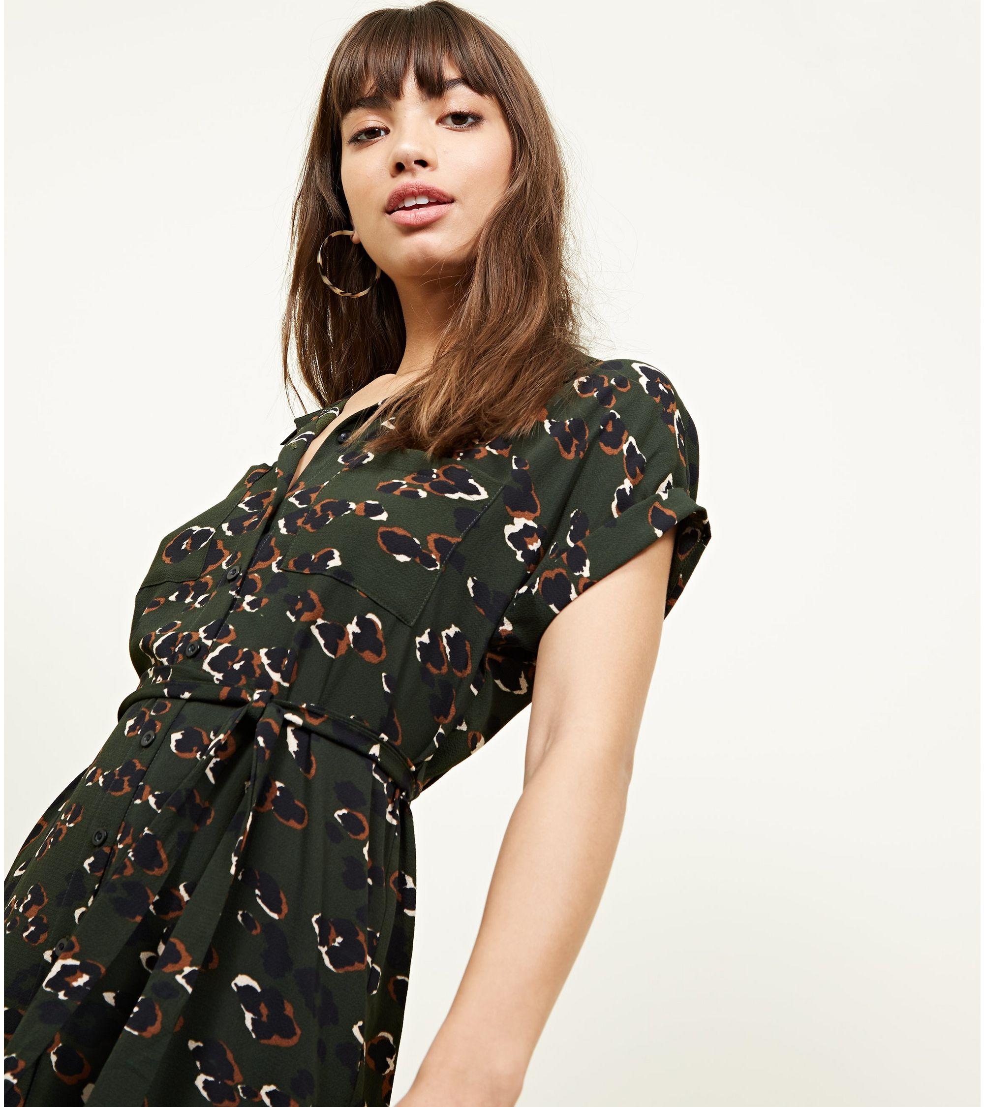 fdb6827947020 New Look Dark Green Leopard Print Midi Shirt Dress at £18.74