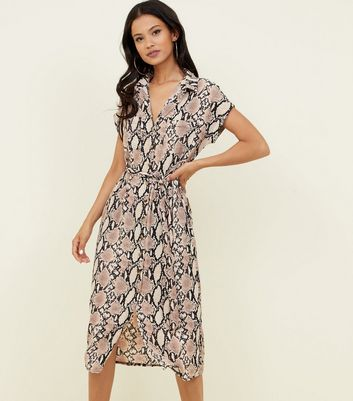 Camel Snake Print Midi Shirt Dress