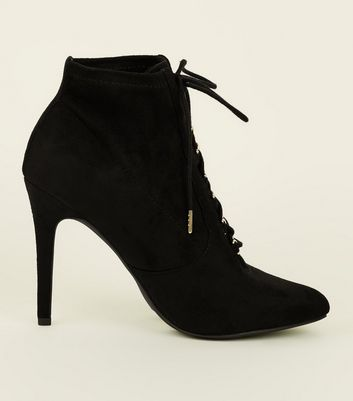 Wide Fit Black Suedette Lace Up Stiletto Shoe Boots