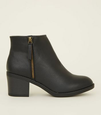 Wide Fit Black Zip Side Ankle Boots by New Look