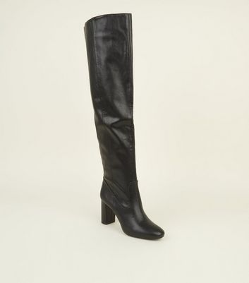 Black Slouch Thigh Length Heeled Boots by New Look