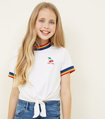 Teens White Rainbow Trim Cherry Slogan T Shirt by New Look
