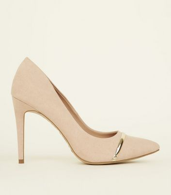 Nude Suedette Metal Bar Pointed Courts