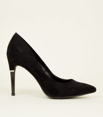 Black Suedette Metal Trim Pointed Court Shoes