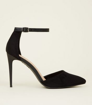 Black Suedette Faux Snakeskin Strap Pointed Court Shoes