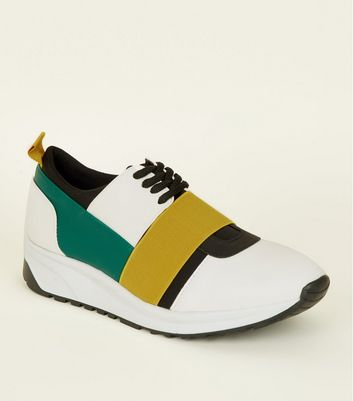 Yellow Colour Block Lace Up Trainers