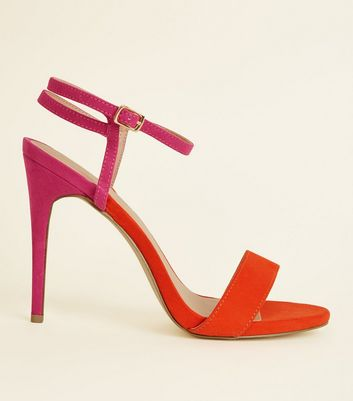 Pink and Orange Suedette Strap Stilettos