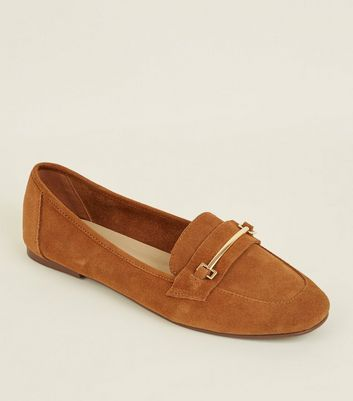 Tan Suede Front Bar Loafers