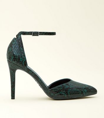 Green Faux Snakeskin Two Part Pointed Courts