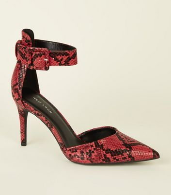 Red Faux Snakeskin Two Part Pointed Courts