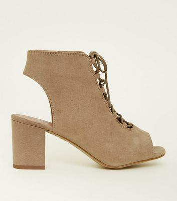 Girls Light Brown Suedette Lace Up Peep Toe Boots