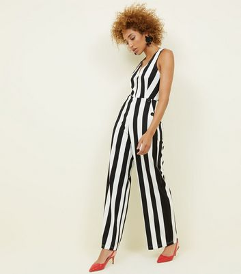Cameo Rose Black Stripe Button Side Jumpsuit