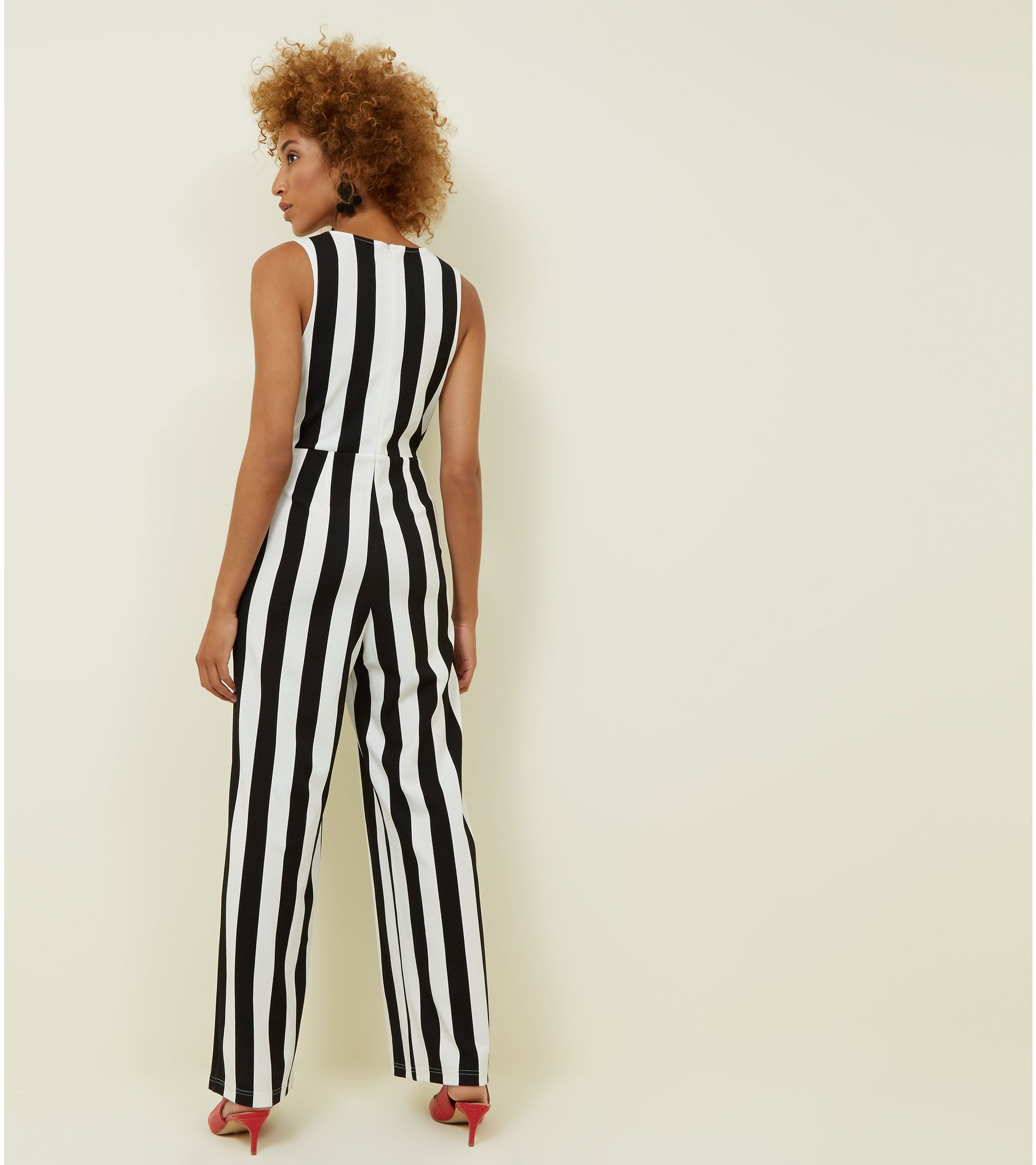 1e783a6987f8 New Look Cameo Rose Black Stripe Button Side Jumpsuit at £10