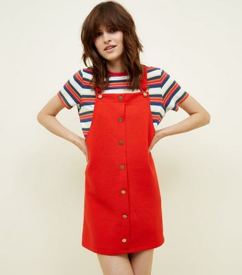 Cameo Rose Red Button Front Pinafore Dress