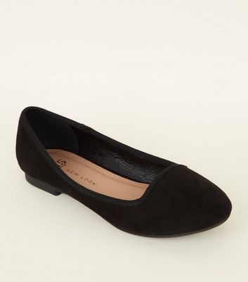 Girls Black Suedette Slip On Pumps