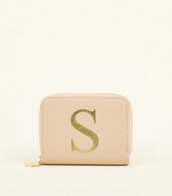 Nude S Initial Zip Around Card Holder