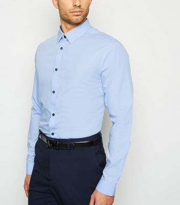 Pale Blue Long Sleeve Poplin Collared Shirt