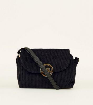 Black Corduroy Clip Lock Cross Body Bag by New Look