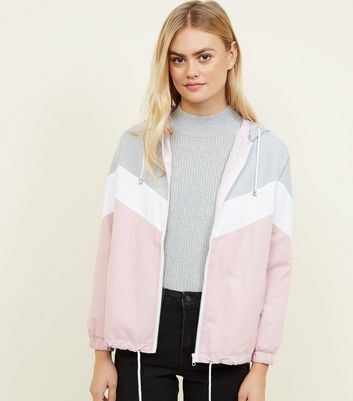 Pink Chevron Colour Block Windbreaker Jacket