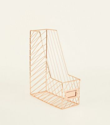 Rose Gold Wire Magazine Rack by New Look