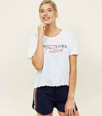 Navy New York J'Adore Slogan Pyjama Set