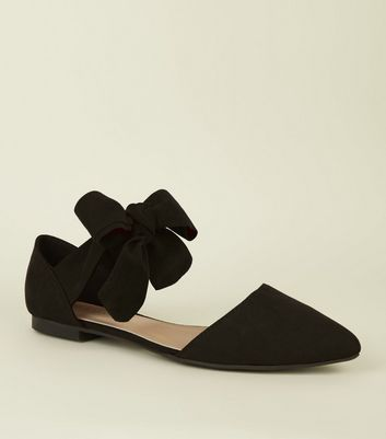 Black Suedette Bow Ankle Tie Pumps