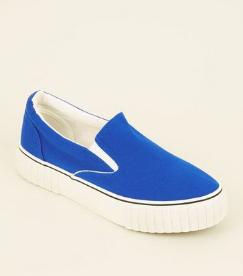 Blue Canvas Slip On Chunky Trainers