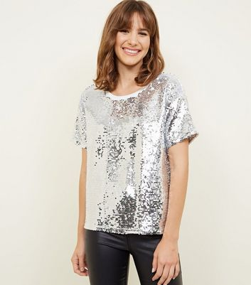 Silver Sequin Oversized T-Shirt