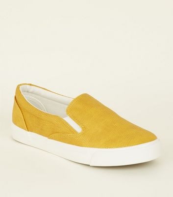 Yellow Faux Snake Slip On Trainers by New Look