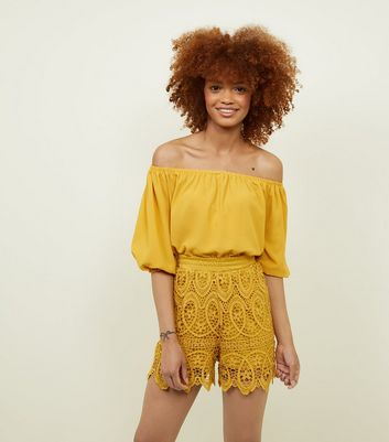 Yellow Shirred Waist Crochet Shorts