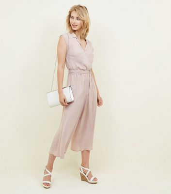 Pale Pink Revere Collar Jumpsuit