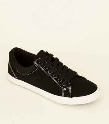 Girls Black Contrast Stitch Lace Up Trainers