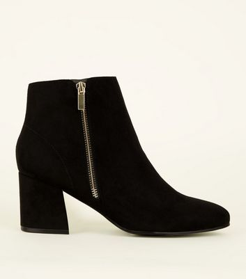 Black Suedette Flared Heel Ankle Boots