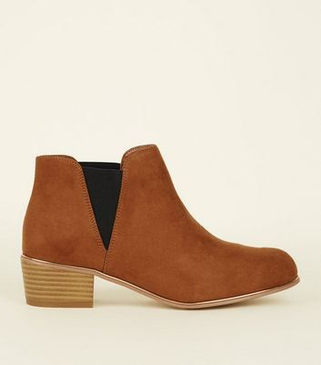 Girls Tan Suedette Gold Piped Edge Ankle Boots