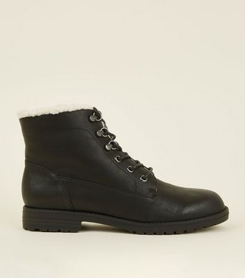 Black Lace Up Shearling Trim Boots