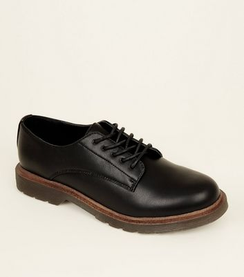 Black Leather Look Chunky Sole Lace Up Shoes by New Look