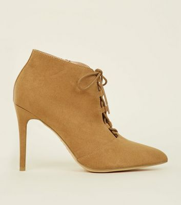 Light Brown Suedette Lace Up Heels
