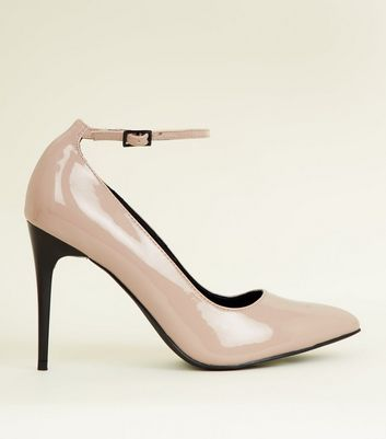 Nude Patent Contrast Heel Ankle Strap Courts by New Look