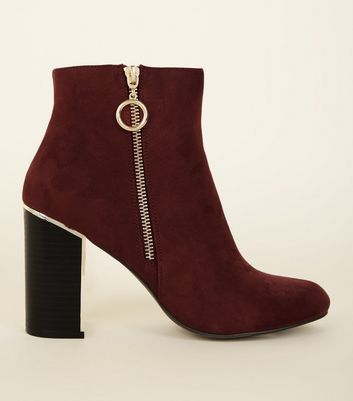 Dark Red Suedette Metal Heel Ankle Boots