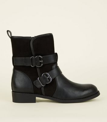 Black Leather-Look Buckle Strap Biker Boots
