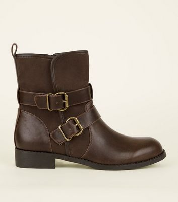 Tan Leather-Look Buckle Strap Biker Boots