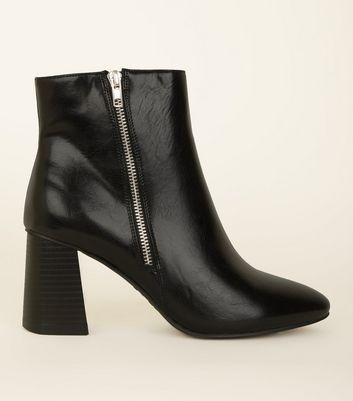 Wide Fit Black Pointed Block Flared Heel Ankle Boots