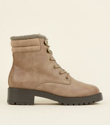 Light Brown Leather-Look Chunky Hiker Boots