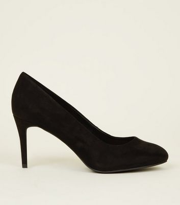 Black Suedette Stiletto Court Shoes