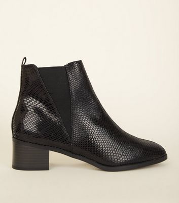 Wide Fit Black Faux Snakeskin Chelsea Boots