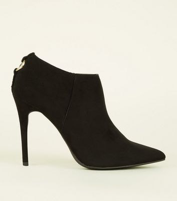 Black Suedette Ring Back Stiletto Shoe Boots