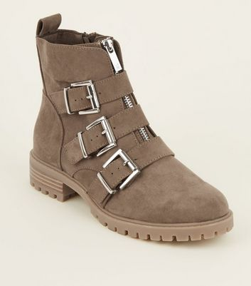 Light Brown Chunky Buckle Front Zip Boots
