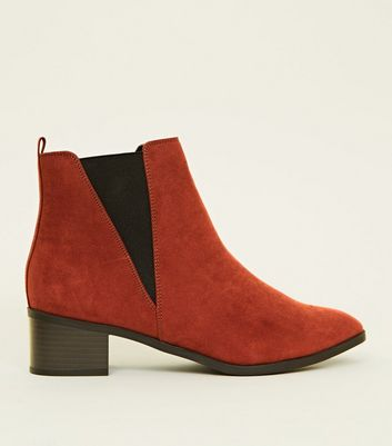 Wide Fit Rust Suedette Low Heel Chelsea Boots