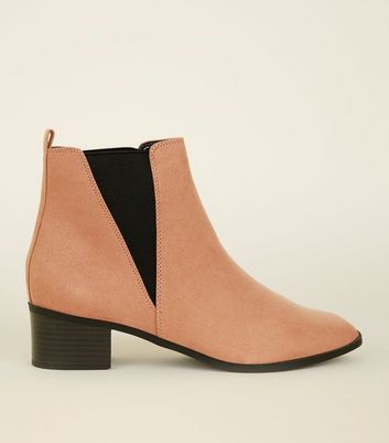 Wide Fit Pink Suedette Low Heel Chelsea Boots