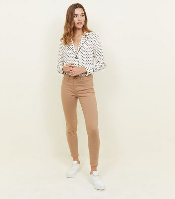 Camel Ankle Grazer Skinny Jenna Jeans by New Look